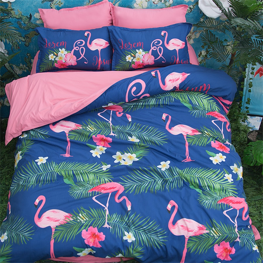 Blue with Pink Print Flamingo Bedding Set Twin Queen King Size Duvet Cover Bed Covers Pillowcase Polyester Bedroom SetsBlue with Pink Print Flamingo Bedding Set Twin Queen King Size Duvet Cover Bed Covers Pillowcase Polyester Bedroom Sets