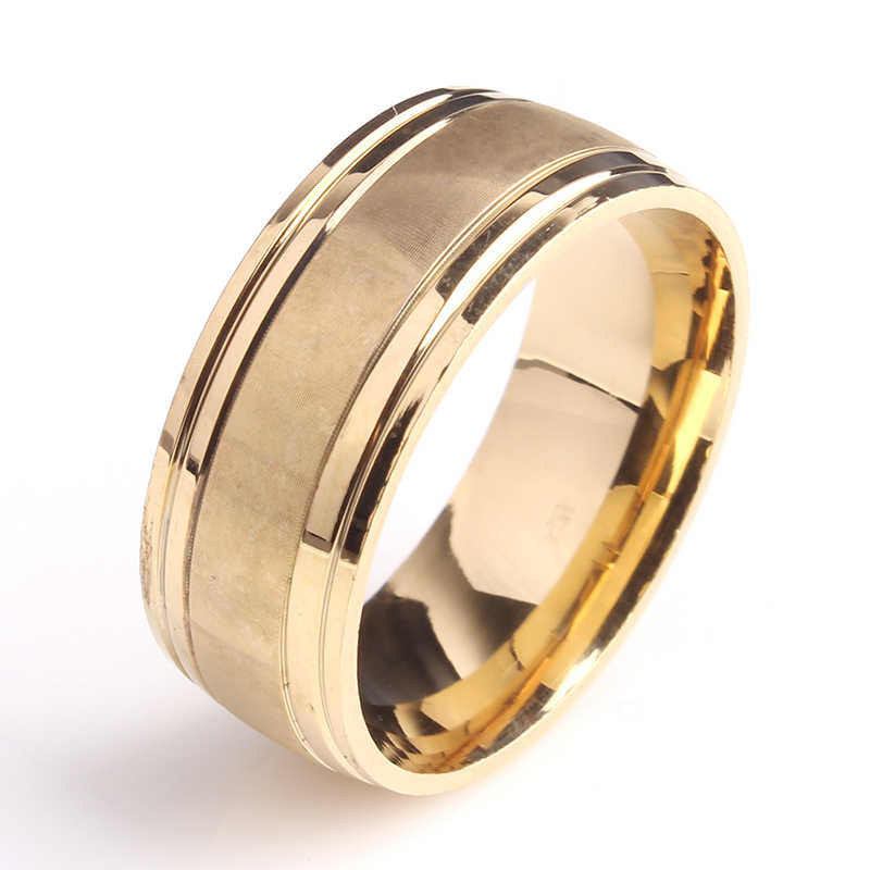 8mm gold color Matte stripe 316L Stainless Steel wedding rings for men women wholesale