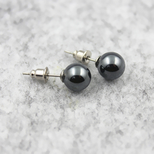 3A Grade 6mm 8mm 10mm Round Hematite Beads Stud Earrings Nickel Free (3 Pairs) Free Shipping HE1000