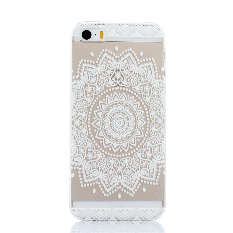 Newest transparent Hard Plastic phone shell coque Cover For iphone 5S Case Lattice flower elephant Skin Mobile phone case