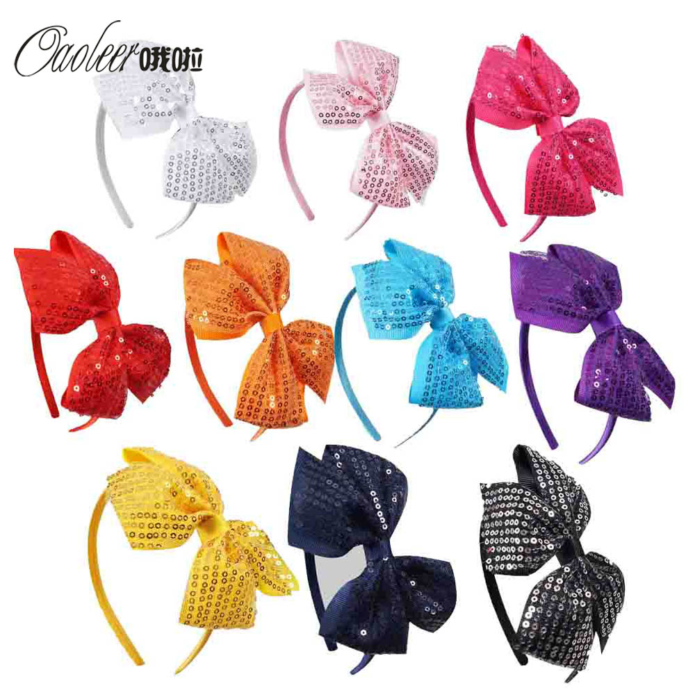 10 pieces/lot High Quality Sequin Hair bow Hair Band  Ribbon Hair Bow Headband For Girls Children Accessories  ZH10-1403111 10pcs lot high quality chiffon flower hairband headband alice band for kids girls handmade headband children hair accessories