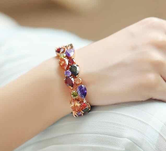 Emmaya Fabrik Preis Mona Lisa Mehrfarbigen Kubische Zirkon Armbänder Armreifen Luxus Hochzeit Armbänder für Frauen Kristall Schmuck