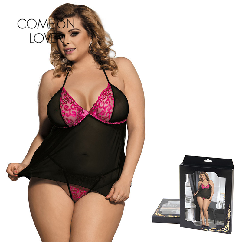 dc93222c4 Comeonlover Lace Black Tulle Pink Embroidered Erotic Dress For Sex Large  Size Bielizna Erotyczna Baby doll Sexy Lingerie RI80354