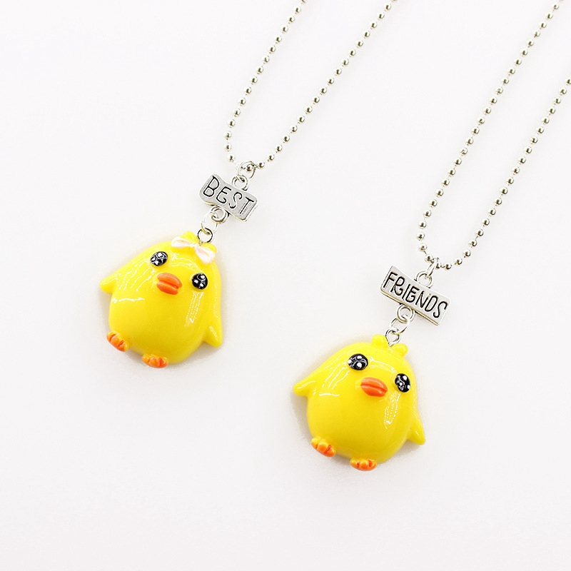 2pcs/lot Best Friends Cute Yellow Duck Kid Necklaces 3-D Imitation Animal Necklace For Children Jewelry, Birthday Gift image