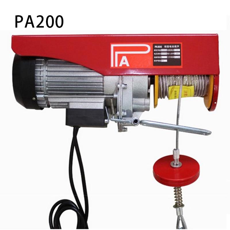 Mini electric hoist car 220V wireless remote control hoist small household crane hoist winch 100-200kg reins 12m