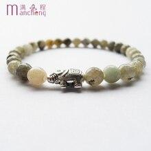 Men's women 6MM natural Labradorites stone elephant bracelet & Alloy silver plated elephant Labradorites beads bracelets women