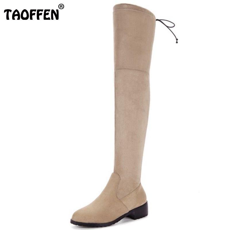 Taoffen/плюс Размеры 32-50 зимняя эластичная обувь Для женщин Обувь на среднем каблуке Сапоги выше колен (ботфорты) женский ремешок Женская зимня...