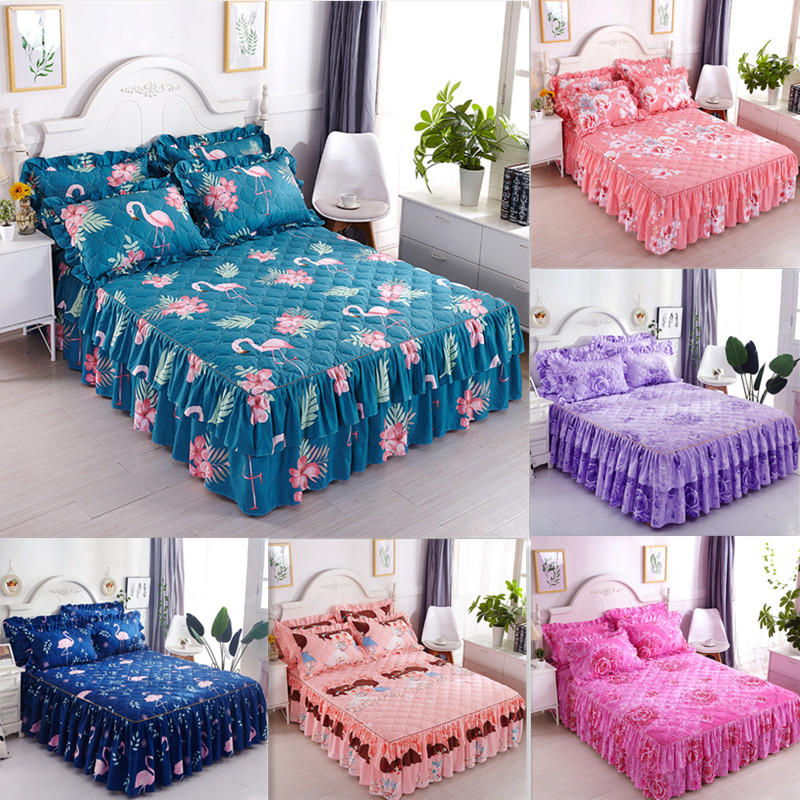 Romantic Two Layer Bed Skirt Elegant Chiffon Bedspread Thicken Quilted Bed Sheet For Wedding Decora Bed Cover With Elastic Band