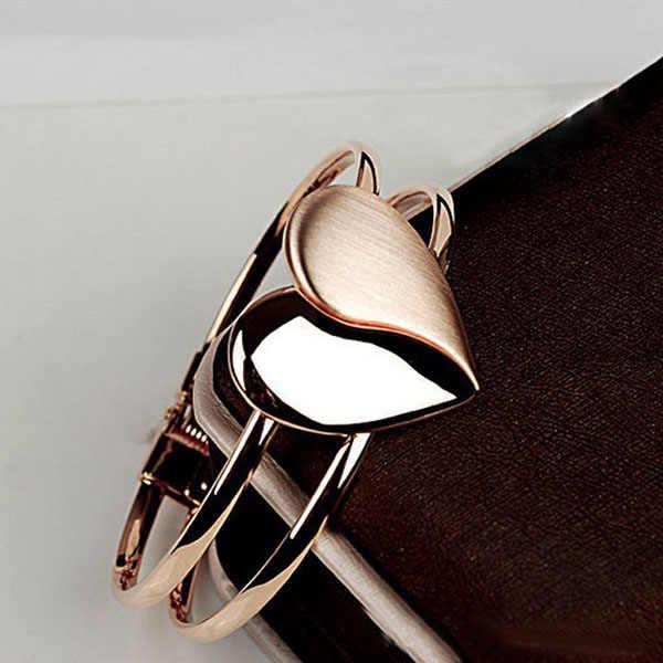 Flawless New Fashion Lady elegancka bransoletka z sercem nadgarstek bransoletka na mankiet Bling prezent Jewelries Fantasy bransoletki Fine Pendientes