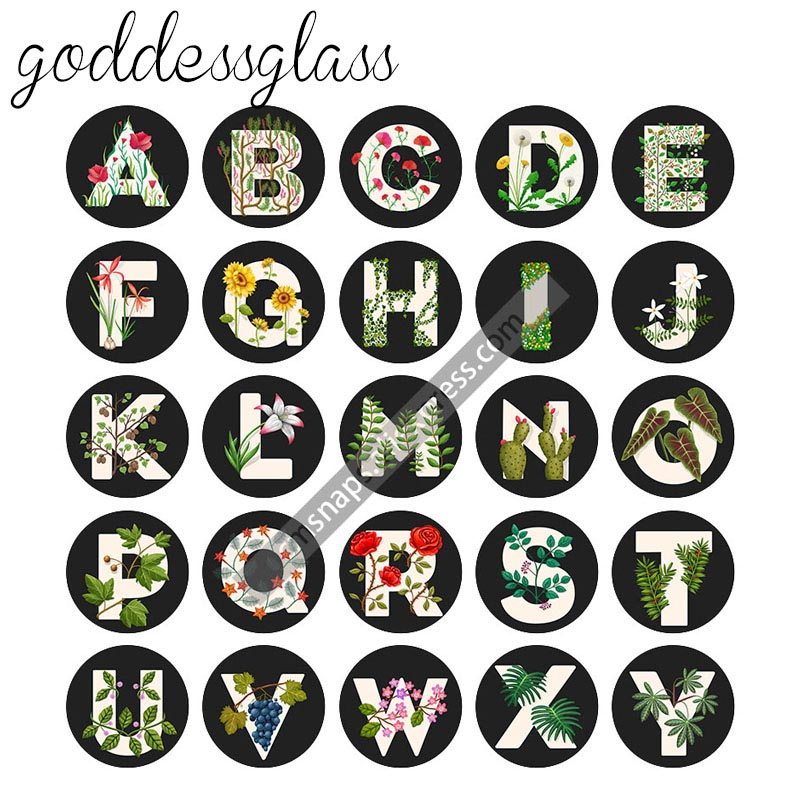 Fashion A-Z Alphabet Letters Words 26pcs Mixed 12mm/18mm/20mm/25mm Round Photo Glass Cabochon Demo Flat Back Making Findings