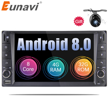"Eunavi 7"" Android 8.0 2 DIN Car GPS for Toyota Terios Old Corolla Camry Prado RAV4 Universal radio wifi Capacitive 8 octa core"
