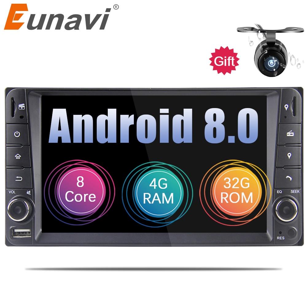 Eunavi 7 ''Android 8.0 2 DIN GPS Per Auto per Toyota Terios Vecchio Corolla Camry Prado RAV4 Universale radio wifi capacitivo 8 octa core