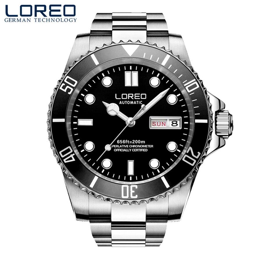 Nova LOREO Mergulho Série Clássicos de Luxo Homens movimento Gaivota Relógio Mecânico Automático Relógios Em Aço Inoxidável Relógios 200 m À Prova D' Água