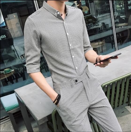 Men's seven-point sleeved plaid shirt summer stylist short-sleeve shirt men's nine-point trousers sleeved shirt suit.    S-3XL!!
