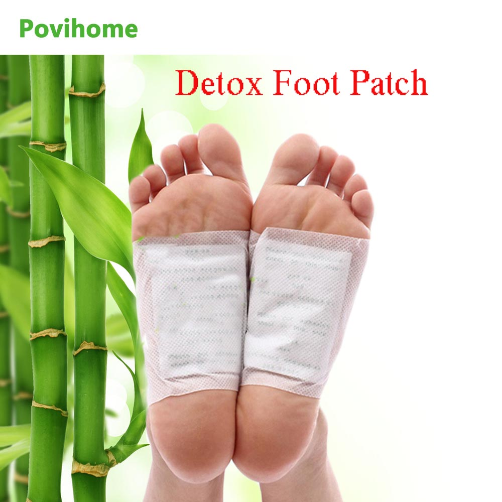 Povihome 50pcs/lot Kinoki Detox Foot Patch Massage Relaxation Pain Relief Stress Tens Help Sleep Bamboo Feet Care Plaster C032