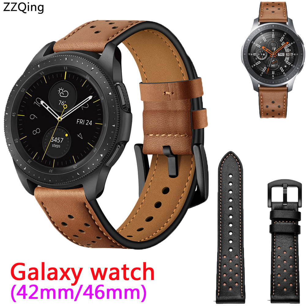 ZZQing For Samsung Galaxy watch Strap 46mm 42mm Genuine Leather band smartwatch wristband 2018 men&women watches Bands belt strap
