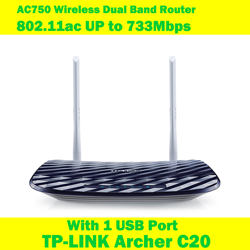 TP-LINK Archer C20 AC750 733Mbps 802.11ac WIFI extended wireless router 2 antenna 1USB Interface for English version hot new deans style xt plug nylon t connector golden grip slip t plug anti skid for rc esc battery