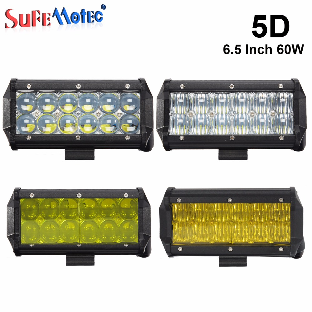 2Pcs 5D 6.5 Inch 60W LED Work Light Bar for Tractor Boat OffRoad 4WD 4x4 Truck ATV SUV 12V 24v Fog Driving Lamp Pick Up Lights 5 5 inch 80w led work light 12v 60v dc led driving offroad light for boat truck trailer suv atv led fog light waterproof