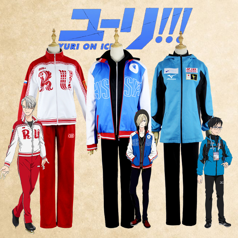 Anime YURI on ICE Yuri Plisetsky Katsuki Yuri Victor Nikiforov Cosplay Costume Jacket Hoodie Pants Sportwear Sports Suit Set