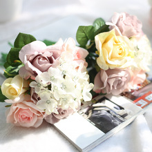 High Quality Export 1 Bunch colorful Silk Artificial Flower Rose Bouquet Wedding Home Decoration Party