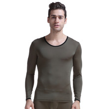 Aibc male underwear elastic skinny silky translucent viscose o-neck long-sleeve slim Only primary prime