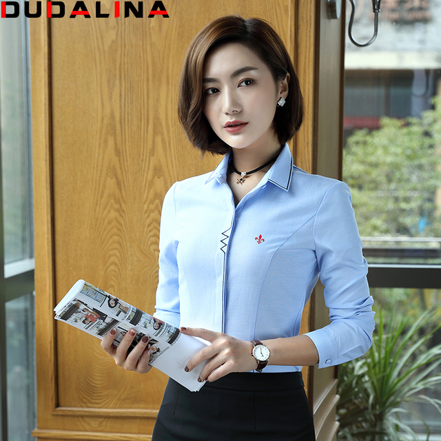 Blusas Femininas Camisas Dudalina 2017 Camisa Branca E Azul Sólida Camisa  de Manga Longa Roupas Femininas 2ca69535f13