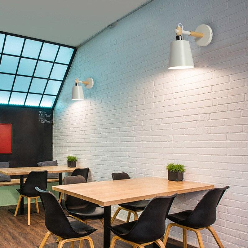 Applique murale moderne Simple de Style nordique abat-jour en fer peint et Base en bois E27 applique murale avec interrupteur d'alimentation IY121788