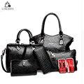 LINLANYA mulheres bolsas de couro bolsa de Embreagem das mulheres Bolsa das senhoras marca projeta saco sacos Bolsa + Messenger Bag + Bolsa 6 Conjuntos