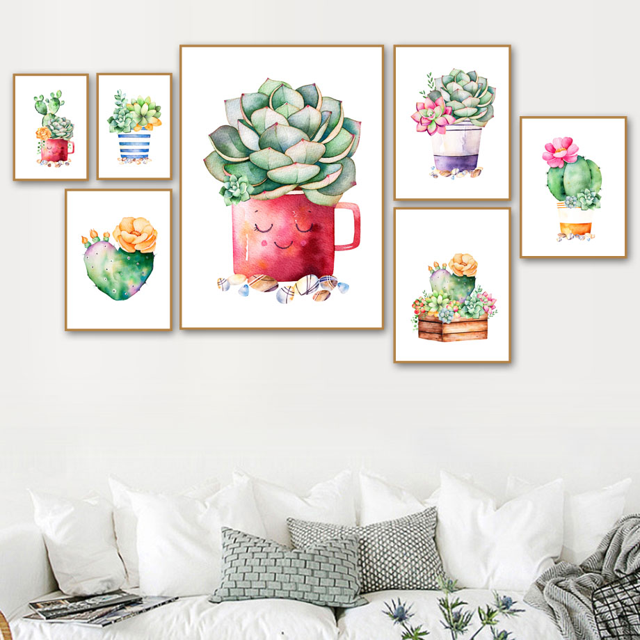 Cactus Succulent Plant Canvas Painting Nordic Poster Wall Art Prints Watercolor Wall Pictures For Living Room Decor Unframed