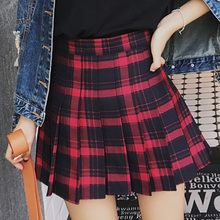 XS-3XL Harajuku 2018 Women Fashion Summer high waist pleated skirt Wind Cosplay plaid skirt kawaii Female Skirts