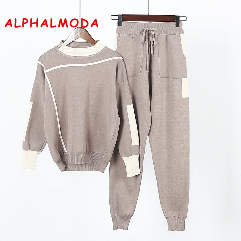 ALPHALMODA 2017 Women Pants And Sweater 2pcs Suits Striped Sporty Knitted Trousers And Jumper Tops Winter 2pcs Casual Sets