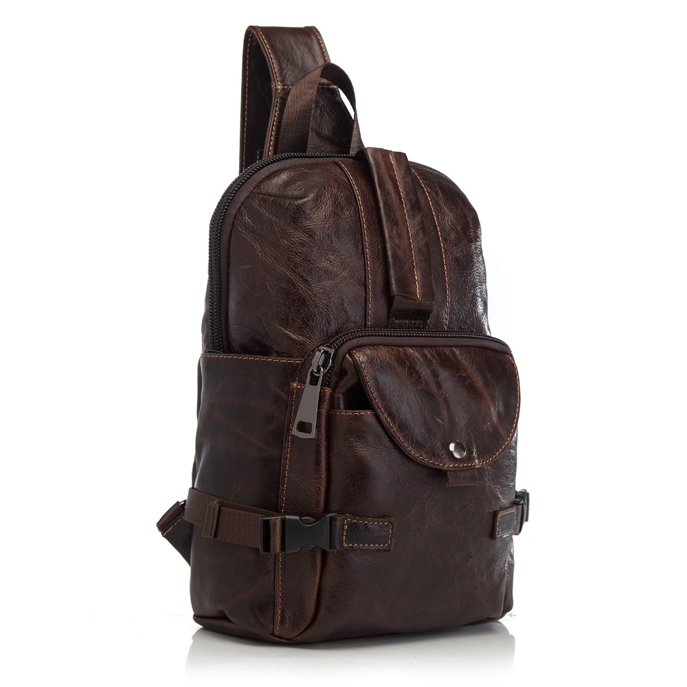 Hot Sale Men Original Leather Casual Fashion Chest Sling Bag 8