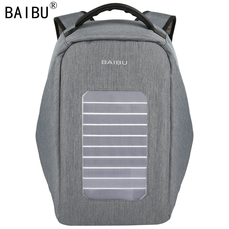 BAIBU Solar USB Charge Backpack Men Anti-The Notebook Computer Waterproof Travel Bags Teenagers Women Fallow School Bags baibu men backpack usb charge notebook business 15 6 computer bag waterproof anti theft women travel school bags for teenagers