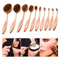 Oval Rose Gold Makeup Brushes 10 pcs Professional Brushing Cream Powder Blush Toothbrush Makeup Brush Set Kits Soft Foundation