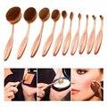 Oval de Oro Rosa Maquillaje Cepillos 10 unids Cepillado Crema Profesional Powder Blush Fundación sistema de Cepillo Del Maquillaje Kits de cepillo de Dientes Suave