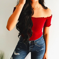 Womens-Short-Sleeve-Off-Shoulder-Knitted-Top-3