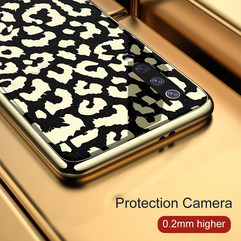 Image 3 - OTAO New Plating Glass Leopard Print Case For Xiaomi Mi 8 Lite 9 SE Soft TPU Edge Case For Xiaomi 8 Explorer Hard PC Cover Coque-in Fitted Cases from Cellphones & Telecommunications
