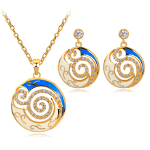 Enamel Blue White Hollow Flower Jewelry Set Abstract Necklace & Pendant Costume Jewelry for Women Copper Alloy