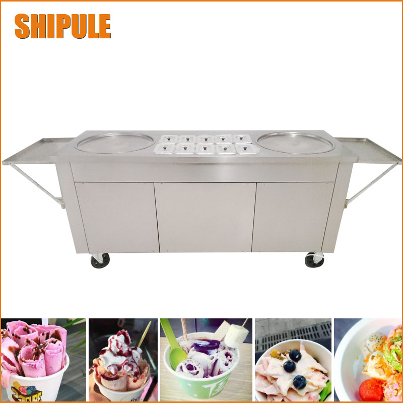 NEW Ice Cream rolling machine fried ice cream machine double 2 pans ice cream roller machine with cabinet edtid new high quality small commercial ice machine household ice machine tea milk shop