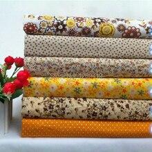 Новинка! 6 шт. 50*50 см желтый цветочный принт хлопок ткань жир четверть комплект для DIY ткани для лоскутного шитья ребенка шитье игрушек текстиль