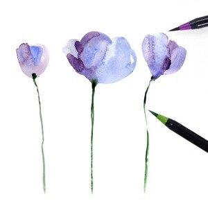 Image 4 - 20 لون قسط اللوحة فرشاة لينة مجموعة أقلام الألوان المائية علامات القلم تأثير أفضل لتلوين كتب المانجا الخط الهزلي