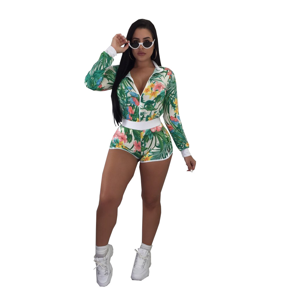 Sexy 2 Piece Set Women Zip Shirt+Shorts Sweat Suits Autumn Outfits Two Piece Matching Sets Casual Tracksuit