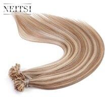 Neitsi машина сделала Реми Человеческие волосы для горячего наращивания прямые Кератин U Кончик Ногтя Волос P14/24 #1.0 г/локон 50 г/упак. предварительно таможенного волос