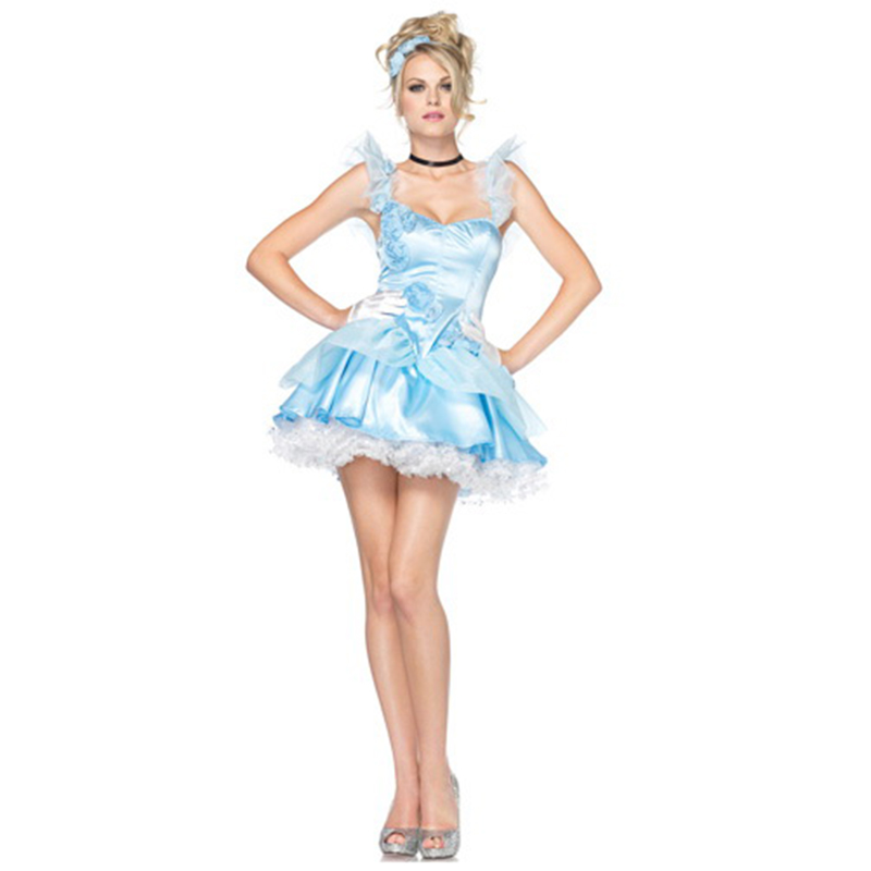Halloween Sexy Dress Women Girls Alice in Wonderland Sleeveless Low Collar Cosplay Costumes Party Fancy Maid Dresses