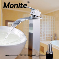Chrome Brass Waterfall Bathroom Faucet Vanity Face Sink Mixer Tap