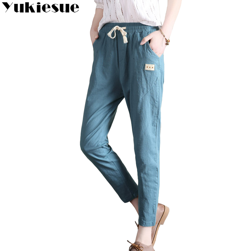 Cotton linen trousers women 2018 summer loose high waist elastic harem   pants   female trousers candy color women   pants     capri   femme