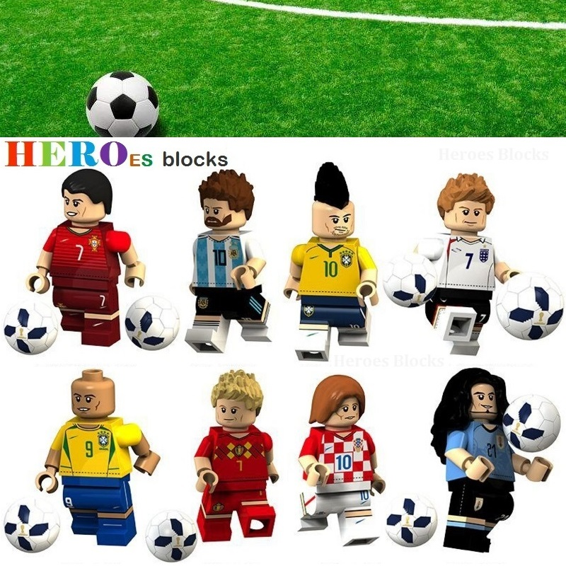WorldCup Football Team Player Ronaldo Lionel Messi Neymar Beckham Building Blocks Figure Bricks Toy Kids Gift Compatible Legoed