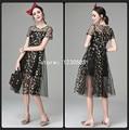Бесплатная Доставка Черный O Шеи Короткими Рукавами Sheer Сетки Женщины Dress With Embroidery Fashion Summer Dress 2016 Vestidos 53080