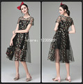 Free Shipping Black O Neck Short Sleeves Sheer Mesh Women Dress With Embroidery Fashion Summer Dress 2016 Vestidos 53080