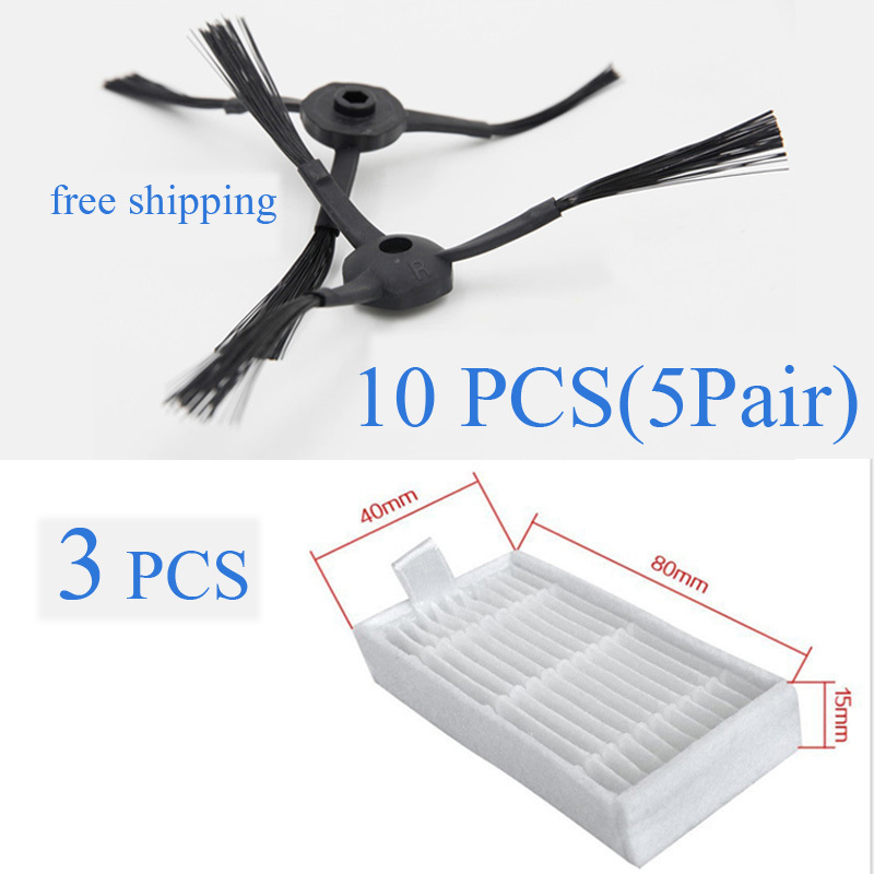 10 pieces(5x Right Side Brush + 5x Left Side Brushes) and 3 pcs Hepa filter for Panda X500 ECOVACS X500 X600 CR120 for x500 b2000 b3000 b2005 left
